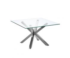 Tavolino Basso in Vetro e Acciaio Argento 70 x 70 cm STARLIGHT