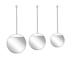 Set di 3 specchi da parete rotondi in metallo nero ODOS
