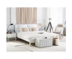 Letto matrimoniale moderno in legno bianco 140x200cm OLIVET