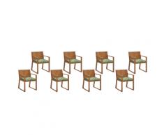 Set di 8 sedie da giardino in legno marrone chiaro cuscino a foglie SASSARI