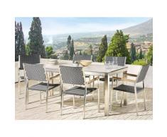Set tavolo da giardino effetto marmo 180 cm e 6 sedie rattan nero GROSSETO