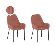 Set di 2 sedie da pranzo in velluto a coste rosa LOVERNA