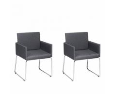 Set di 2 sedie da pranzo in metallo e tessuto grigio scuro GOMEZ