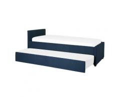 Letto singolo con letto estraibile in tessuto blu 90x200 cm MARMANDE