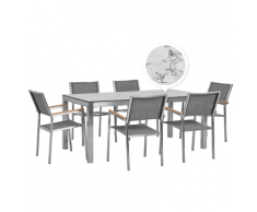 Set da esterno tavolo effetto marmo 180 cm 6 sedie in tessuto grigio GROSSETO