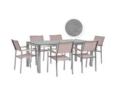 Set tavolo da giardino effetto cemento 180 cm e 6 sedie tessuto beige GROSSETO
