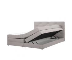 Letto boxspring con contenitore in tessuto grigio chiaro 180x200cm MILORD