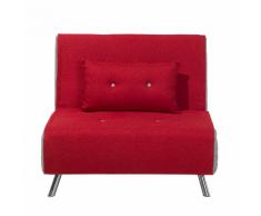 Divano letto singolo in tessuto rosso FARRIS