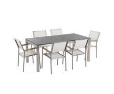 Set di tavolo e 6 sedie da giardino in acciaio, basalto e fibra tessile bianca - piano singolo - Nero fiammato- 180cm - GROSSETO