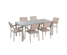 Set di tavolo e 6 sedie da giardino in acciaio, granito e fibra tessile beige - piano singolo- Grigio lucido - 180cm - GROSSETO