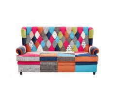 Divano letto in velluto patchwork multicolore MALVIK