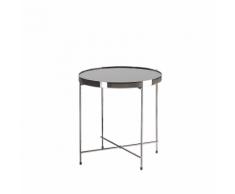 Tavolino laterale in vetro nero e argento 40cm diametro LUCEA
