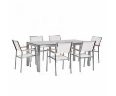 Set tavolo da giardino effetto marmo 180 cm e 6 sedie tessuto bianco GROSSETO