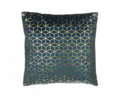 Cuscino decorativo in velluto motivo geometrico 45 x 45 cm blu scuro