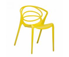 Sedia da pranzo in plastica gialla BEND