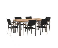 Set da giardino tavolo in teak e 6 sedie nere in rattan GROSSETO