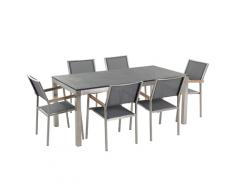 Set di tavolo e 6 sedie da giardino in acciaio, basalto e fibra tessile grigia - piano singolo - Nero fiammato - 180cm - GROSSETO