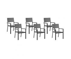 Set 6 sedie da giardino grigio COMO