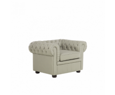 Poltrona vintage in pelle beige cappuccino CHESTERFIELD