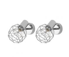 Set di 2 lampade da parete color argento CHENAB