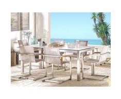 Set tavolo da giardino effetto marmo 180 cm e 6 sedie fibre sintetiche beige GROSSETO