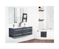 Mobiletto da Bagno Grigio e Bianco con Cassetti e due Specchi Moderno MADRID