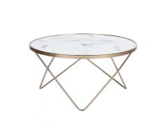 Tavolino da caffè effetto marmo con gambe color oro MERIDIAN II