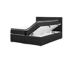Letto boxspring nero con contenitore 160x200cm LORD