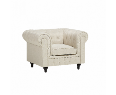 Poltrona vintage in tessuto beige CHESTERFIELD