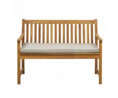 Panca da giardino in legno di acacia con cuscino beige 120 cm VIVARA