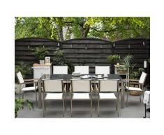 Set di tavolo e 8 sedie da giardino in acciaio, granito e fibra tessile bianca - Grigio lucido - 220cm - GROSSETO