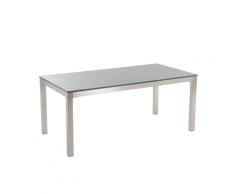 Tavolo da giardino in acciaio e lastra di granito grigio lucido GROSSETO