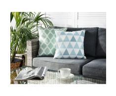 Cuscino da esterno a triangoli blu/bianco 40x40cm