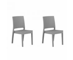 Sedia da giardino in rattan-grigio chiaro set di 2 pz FOSSANO