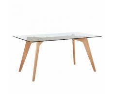 Tavolo da pranzo in legno di faggio e piano in vetro 160x90cm HUDSON