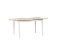 Tavolo da pranzo allungabile in legno chiaro e bianco 120/150 x 80 cm HOUSTON