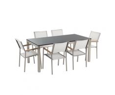Set di tavolo e 6 sedie da giardino in acciaio, basalto e fibra tessile bianca - piano singolo- Nero lucido - 180cm - GROSSETO