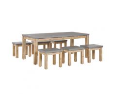 Set da pranzo da giardino tavolo e 6 sgabelli in effetto cemento grigio OSTUNI