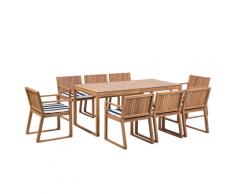Set da giardino in legno di acacia marrone chiaro a 8 posti cuscini blu SASSARI