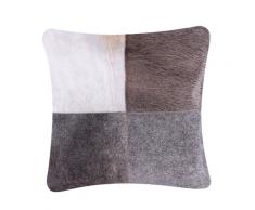Cuscino decorativo in pelle bovina 45 x 45 cm grigio NELLAD