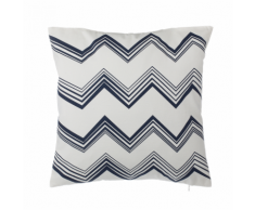Cuscino decorativo in cotone a zig zag 45 x 45 cm bianco/blu