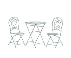 Set da balcone con 2 sedie ed un tavolo pieghevoli in metallo verde TRENTO