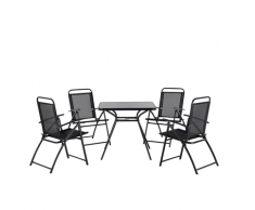 Set da pranzo da giardino in acciaio nero - Tavolo con 4 sedie - LIVO