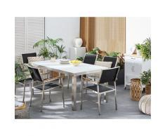 Set tavolo e sedie da giardino - In vetro temperato bianco e fibra tessile nera - tavolo 180 con 6 sedie - GROSSETO