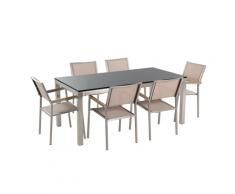 Set di tavolo e 6 sedie da giardino in acciaio, basalto e fibra tessile beige- piano singolo- Nero lucido - 180cm - GROSSETO