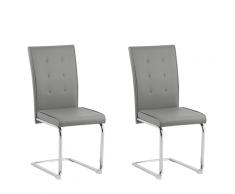 Set di 2 sedie da pranzo in ecopelle grigia ROVARD