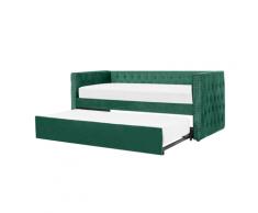 Letto estraibile in velluto verde 90 x 200 cm GASSIN