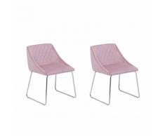 Set di 2 sedie da pranzo in velluto rosa ARCATA