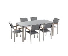 Set di tavolo e 6 sedie da giardino in acciaio, granito e fibra tessile grigia- piano singolo- Grigio lucido - 180cm - GROSSETO