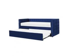 Letto estraibile in velluto blu 90 x 200 cm GASSIN